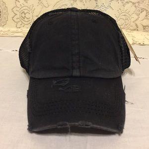 Solid Black Ponytail Distressed Mesh Baseball Cap